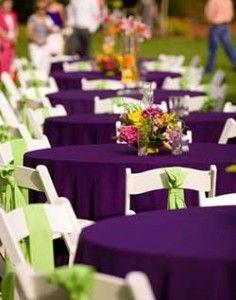 Purple And Green Reception Purple Wedding Tables Purple Green