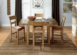 Krinden Counter Height Extension Table W 4 Upholstered Barstools Category Dining Room Krinden Dining Room Table Set Dining Table In Kitchen Dining Furniture