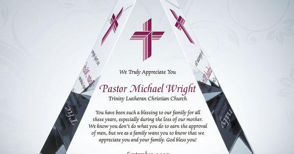 Appreciation Plaque for Pastors, Priests, Deacons | Pastor