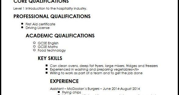 Example Cv Kitchen Porter Sample Customer Service Resume