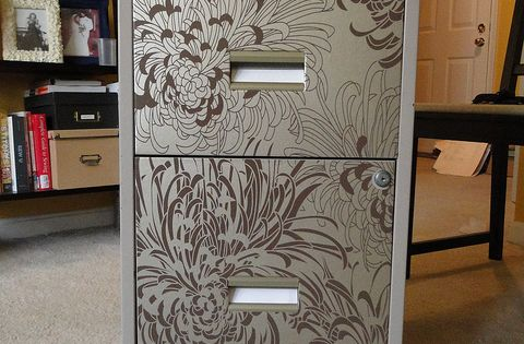 wallpaper file cabinet - great idea, those things can be Ugly!