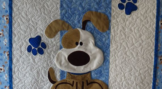 Puppy Dog Quilt For Baby Or Toddler With Applique Dog Paw