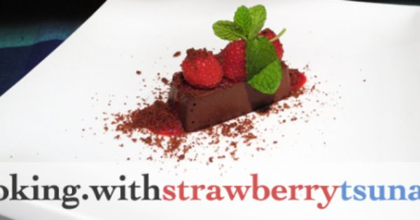 Dark Chocolate Custard With Mint Chocolate Soil Raspberry Coulis