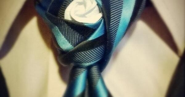 Agape #necktie knot with origami rose in the middle by @asianfish26 | See more about Necktie Knots, Origami Rose and Knot.