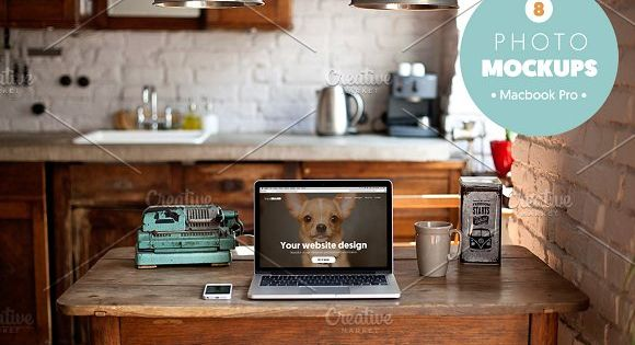 Macbook Pro in retro workspace perfect for your blog, website or to showcase your website template