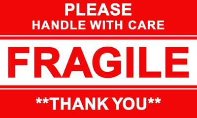 3 X5 Glossy Fragile Adhesive Shipping Labels Fragile Label Labels Printables Free Shipping Labels