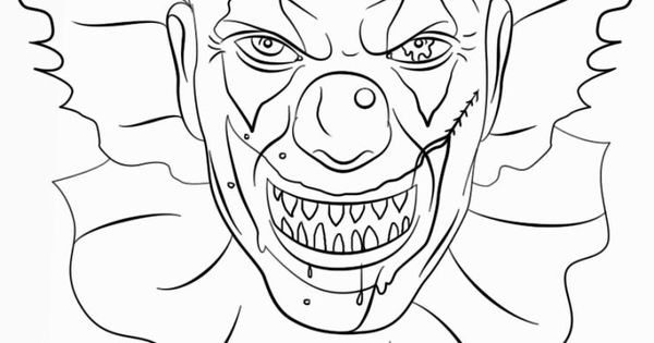 evil clown halloween coloring pages - photo#16