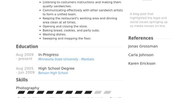 Subway Sandwich Artist Resume Job Description. subway resume ...