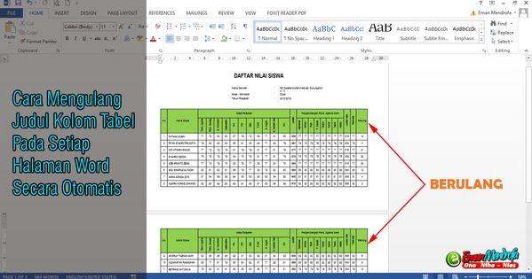 Cara Mengulang Judul Kolom Tabel Pada Setiap Halaman Word Secara Otomatis Model Pembelajaran Matematika Pendidikan