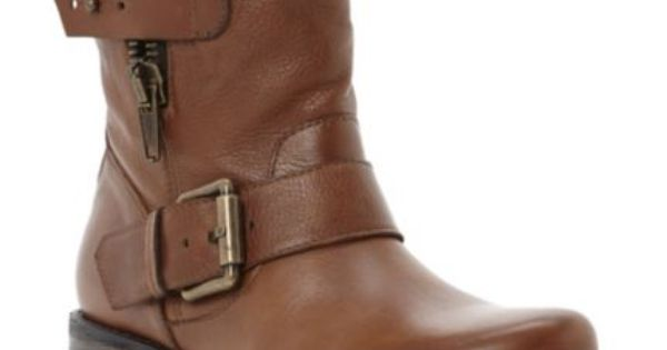 DUNE LADIES Brown PROMEY Side Zip Leather Ankle Biker Boot