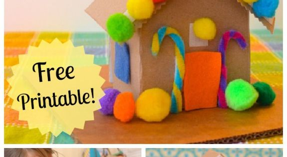 DIY Cardboard Toy Gingerbread House w/ free printable! Made from an empty
