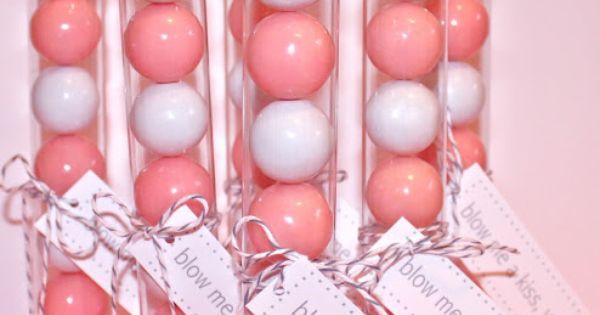 Blow Me a kiss valentine gift. Bubblegum balls & a Hershey's kiss.
