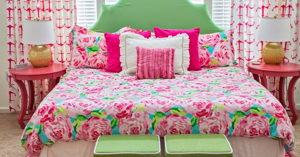 lilly pulitzer bedroom with a first impression comforter