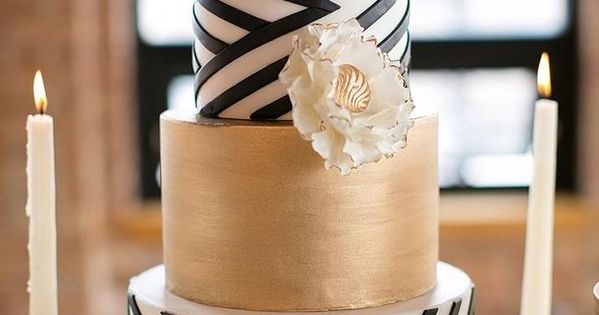 black and white and gold wedding cake