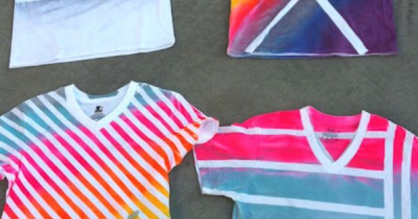 Masking tape and spray paint shirts so doing this for Spray paint designs with tape