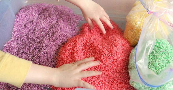 How to make rainbow rice for arts, crafts, and sensory play. Really