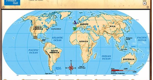 early voyages of exploration interactive map through pearson prentice hall hands on science. Black Bedroom Furniture Sets. Home Design Ideas