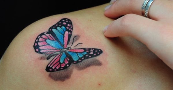 3D Butterfly tattoos on shoulder. I love the idea but I would
