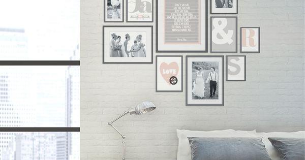 muurcollage met trouwfoto's en prints in lijstjes  Ideas for the small house deco ...