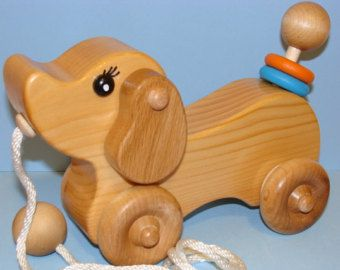 Wooden Puppy Dog Pull Toy Handmade Wooden Toys Pull Toy Wood