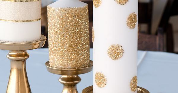 Life with Fingerprints: Use glue dots and add glitter to Ikea candles,