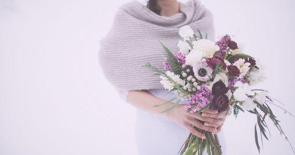 winter wedding bouquet  marsala purple and white wedding bouquet