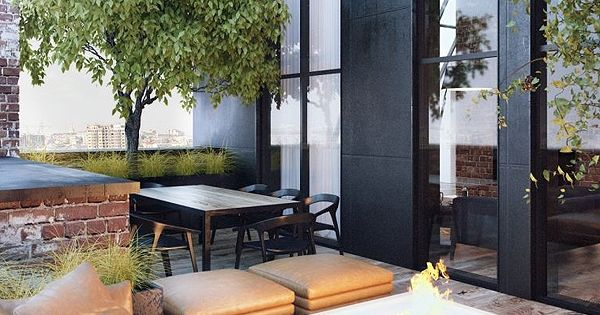 Rooftop garden with fire pit. Pinned to Garden Design - Roof Gardens