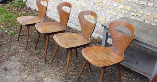 Lot Enfilade De 4 Chaise Ancienne Baumann Vintage Design Scandinave Pied Compas Chaise Ancienne Vintage Design 4 Chaises