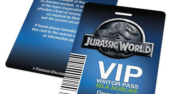custom id card badge  jurassic world visitor pass  cosplay