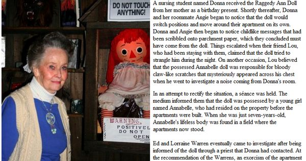 The Real Annabelle Doll Case Details Http Www