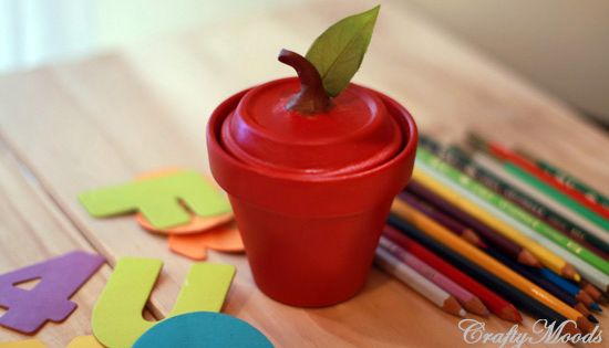 Sweetest Apple Clay Jar EVER! Use clay pots and tray to create