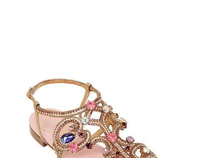 Jeweled sandals - SANDALIAS DE PIEL METALIZADA CON SWAROVSKI 10MM