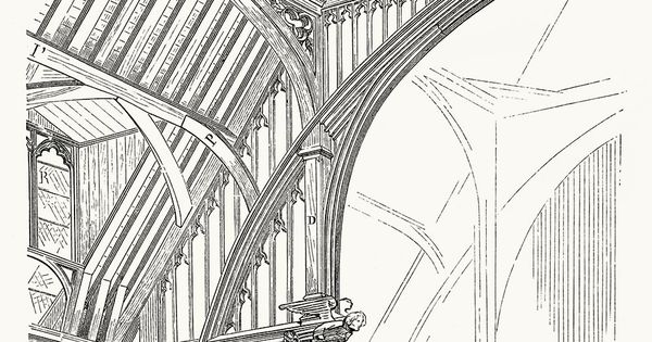Part of the timber framework of westminster abbey from for Dictionnaire architecture
