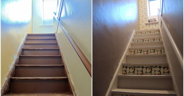 r novation escaliers papier peint contre marches d co. Black Bedroom Furniture Sets. Home Design Ideas