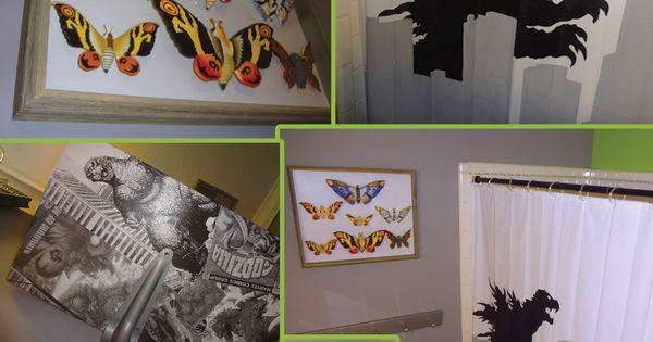 Godzilla bathroom for my husband mothra butterfly shadow - Bedroom furniture little rock ar ...