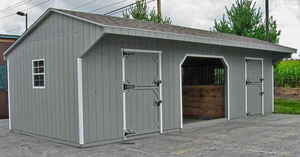 2 stall shed row barn with center run in or hay equipment for 2 stall horse barn