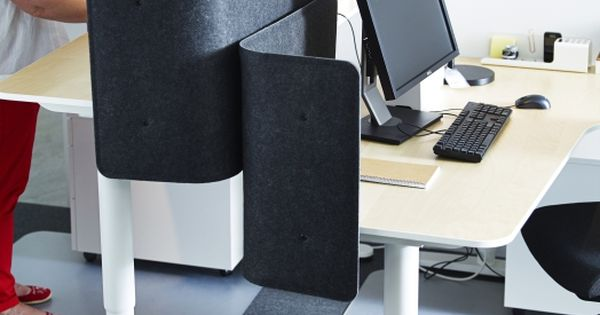 The BEKANT sitstand desk can be raised