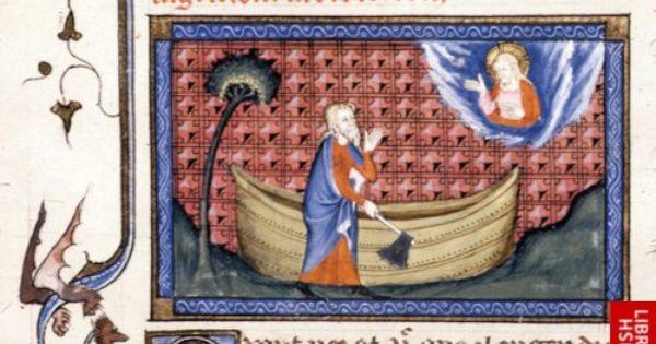 Detail Of A Miniature Of Noah Building The Ark Origin France