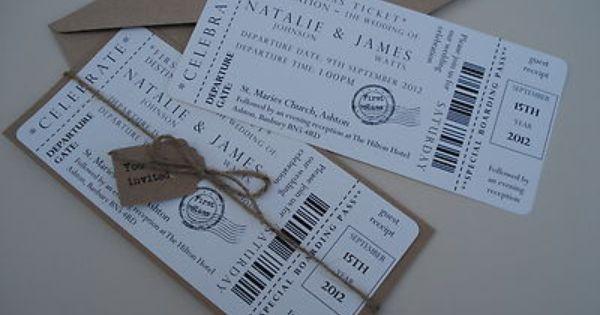 1 Vintage/Shabby Chic Style Ticket Wedding Invitation Stationery Sample