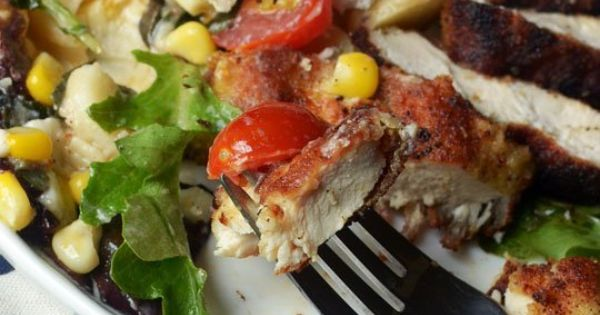 Pan-Fried Chicken Breasts With Corn & Tomato Summer Salad Recipe ...