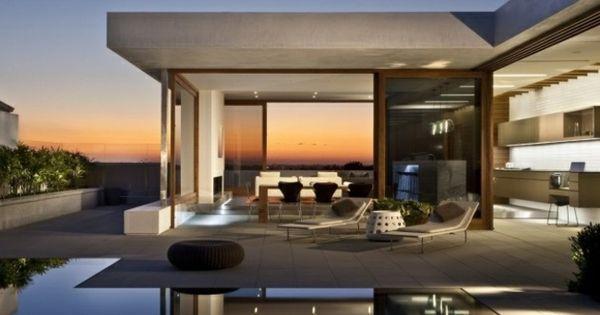 Modernes haus mit pool  modernes Haus infinity Pool Abend Wasserspiegel | Haus mit Pool ...