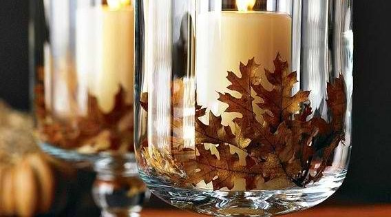 Glass Hurricanes made from Dollar Tree supplies! Very nice fall decoration that