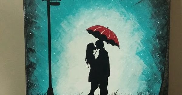 Original Couple kissing in the rain wall art,couple with ...