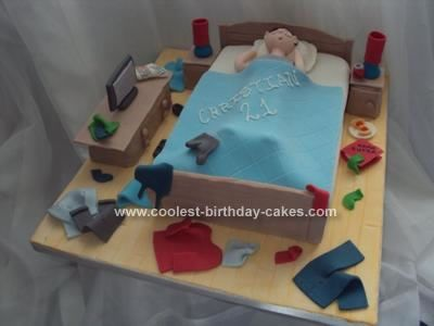 Outstanding Coolest Untidy Bedroom 21St Birthday Cake With Images 21St Personalised Birthday Cards Petedlily Jamesorg