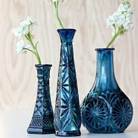 Learn How To Make These Easy Cobalt Blue Vases With Old Glassware And A Little Glass Paint Diy Glass Painting Glass Jars Glass Painting