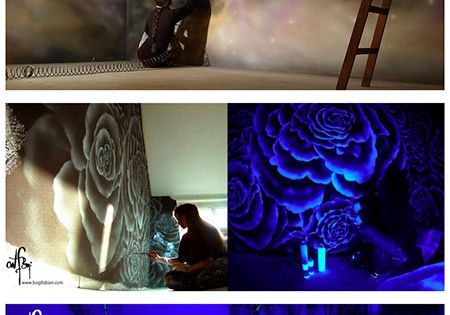 hungarian born vienna based artist bogi fabian uses glowing uv paint to create gorgeous. Black Bedroom Furniture Sets. Home Design Ideas