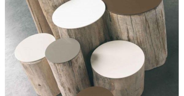 tables basse ou si ge tronc d 39 arbre sans corce assise peinte ou coussin jardin pinterest. Black Bedroom Furniture Sets. Home Design Ideas