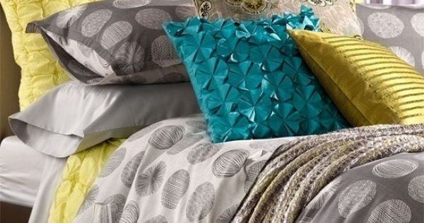 grey yellow teal bedding i 39 m in love with these three colors my perfect bedroom. Black Bedroom Furniture Sets. Home Design Ideas