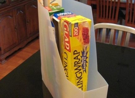 use magazine holder in pantry...+14 More Simple Organization Ideas | Lovelyish