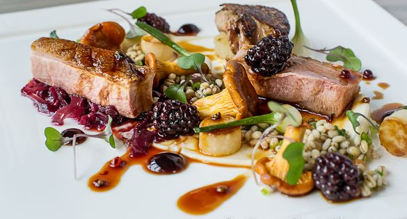 seared duck with foie gras and pickled blackberry sauce. Black Bedroom Furniture Sets. Home Design Ideas